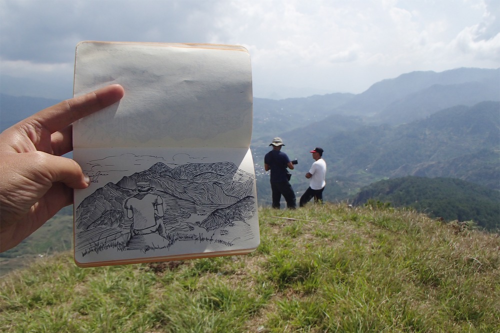 Quick on site sketching at Mt. Polis, 1837 meters above sea level.