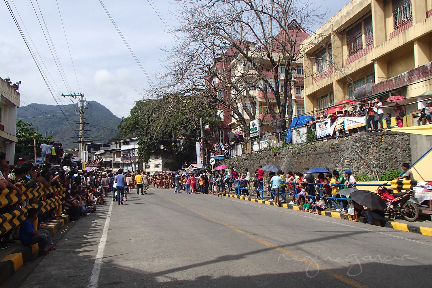 A busy morning in the streets Bontoc, Mountain Province.