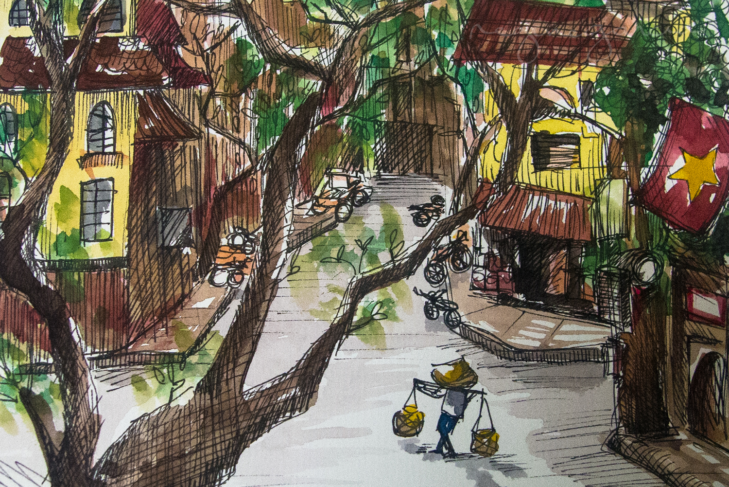 Watercolor and Ink rendering from Hanoi Old Quarter rapid sketching.