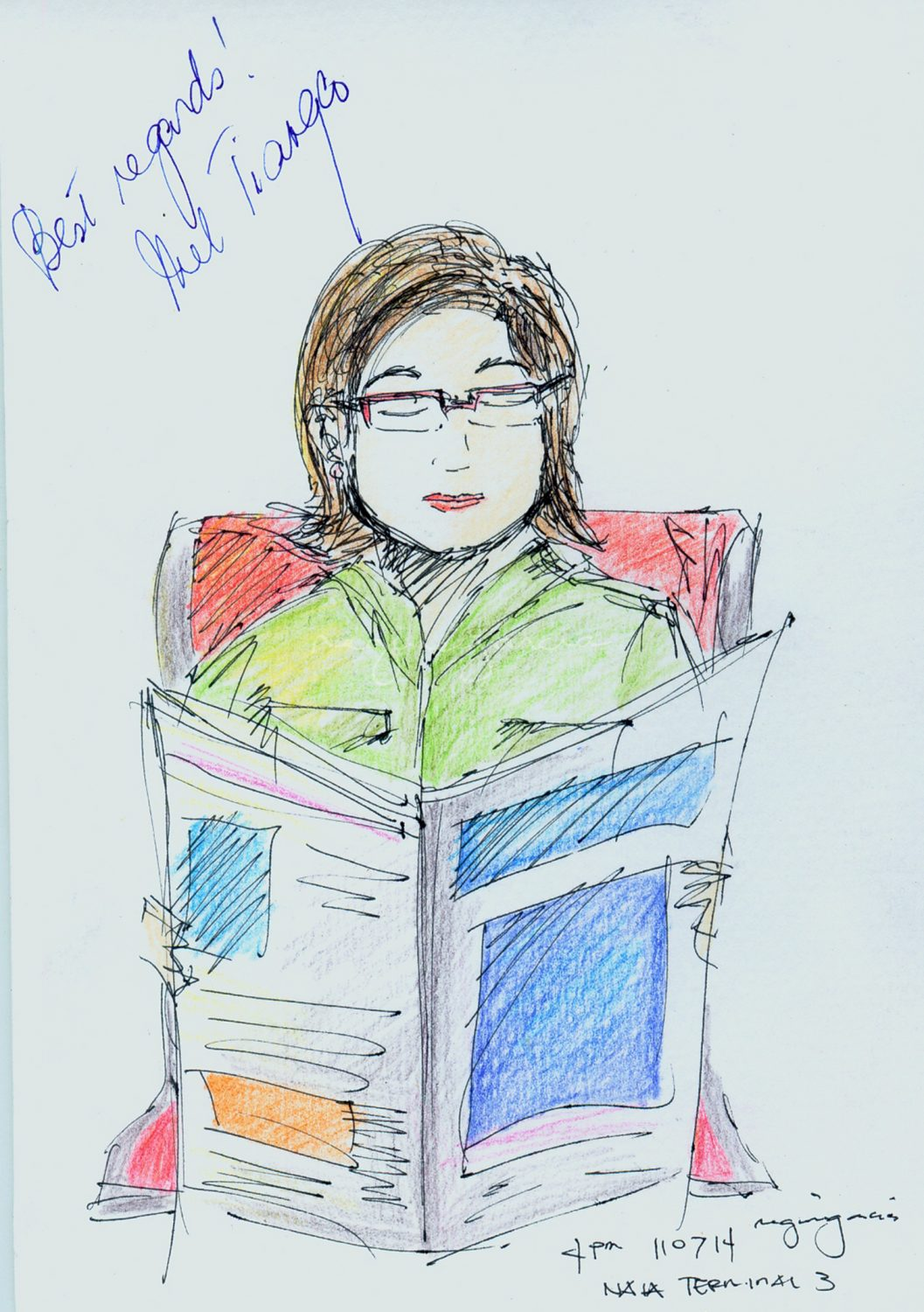 A quick in situ sketch of Mel Tianco while she was reading the newspaper across us. (Look! We had this signed by her!)